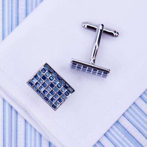 Blue mosaic cufflinks - 1