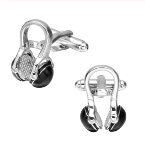 Black headphones cufflinks