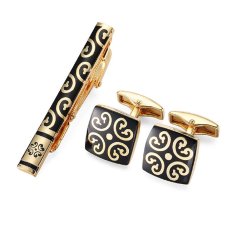Cufflinks golden shape with clasp