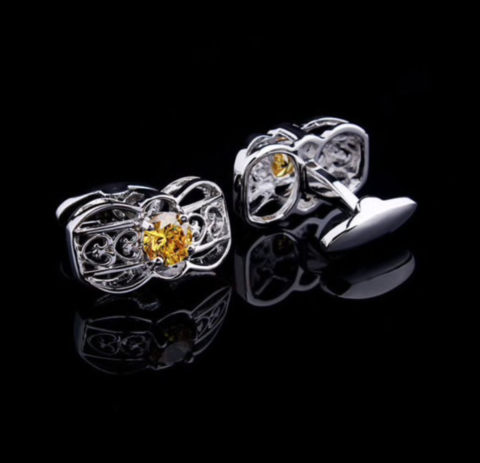 Cufflinks yellow crystal