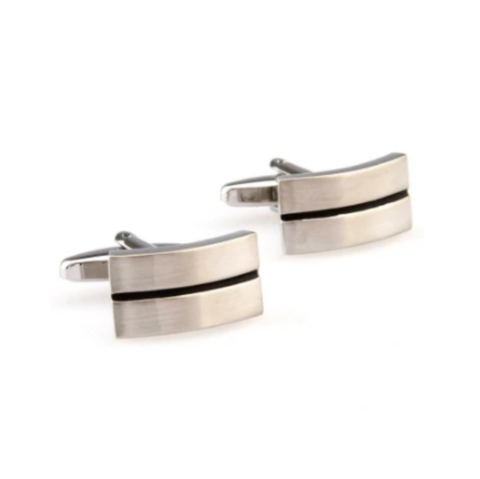 Cufflinks silver stripe