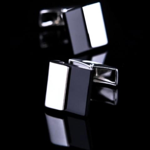 Black plate cufflinks - 1
