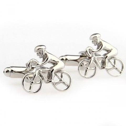 Silver Metal Racing Bike Cufflinks - 1