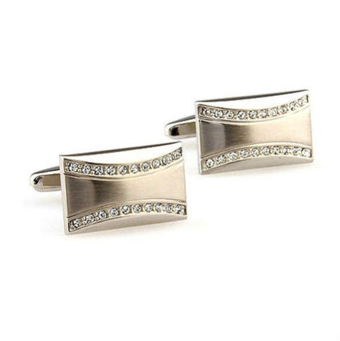 Small Swarowski Wave Cufflinks - 1