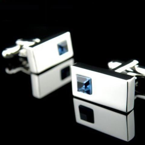 Azure Blue Crystal Cufflinks
