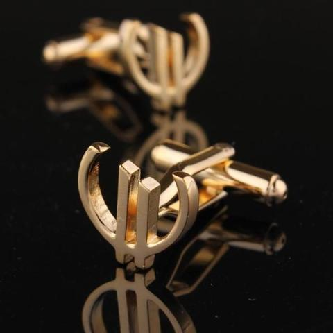Euro Sign Gold Metal Cufflinks - 1