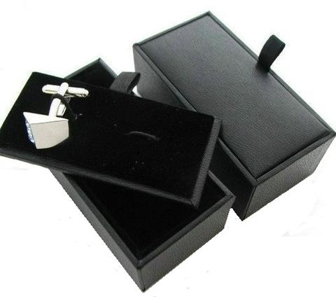 Black Leather Premium Single Cufflink Box