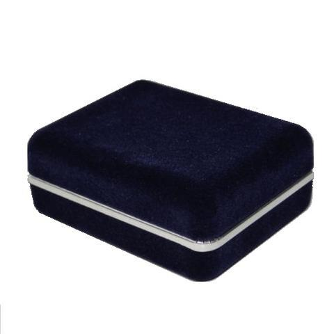 Dark Blue Suede Cufflink Box - 1
