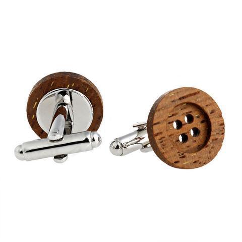 Funky Wooden Stud Cufflinks - 1