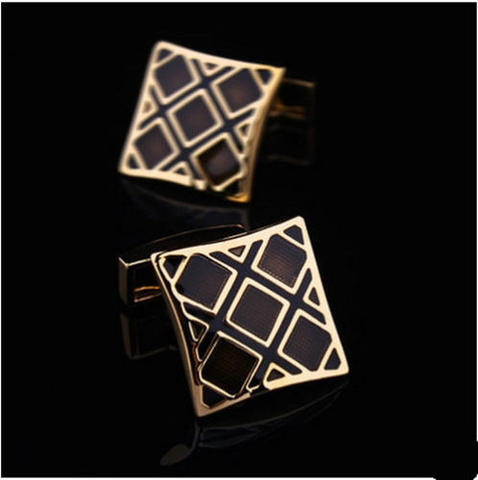 Luxury Black Gold Metal Grid Cufflinks - 1