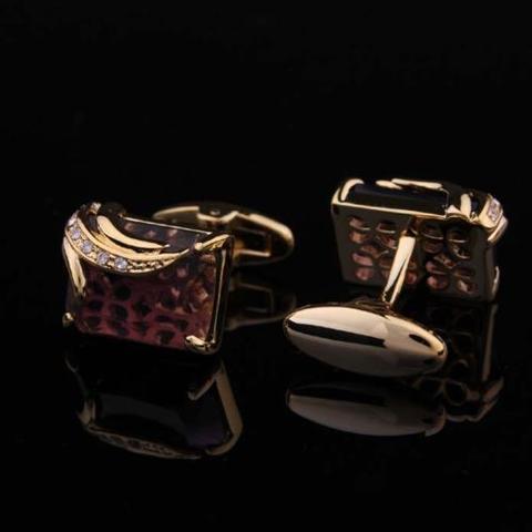 Faceted Dark Violet Crystal Cufflinks - 1