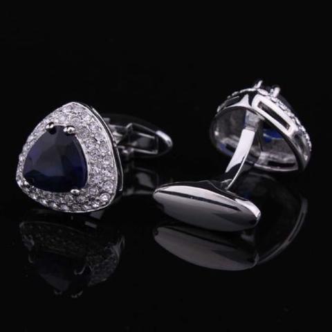 Navy Blue Triangle Crystal Cufflinks - 1
