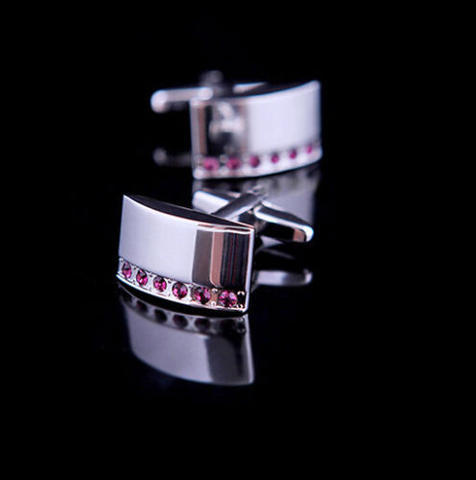 Fine Purple Crystal Line Cufflinks - 1