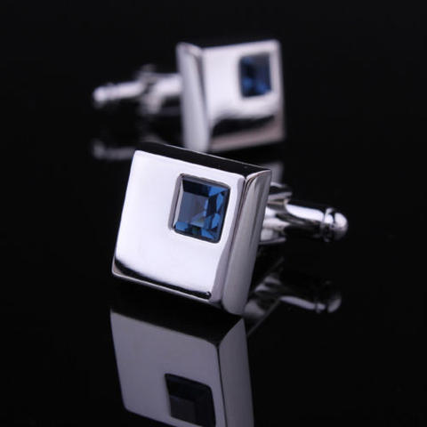 Stylish Blue Crystal Cufflinks - 1
