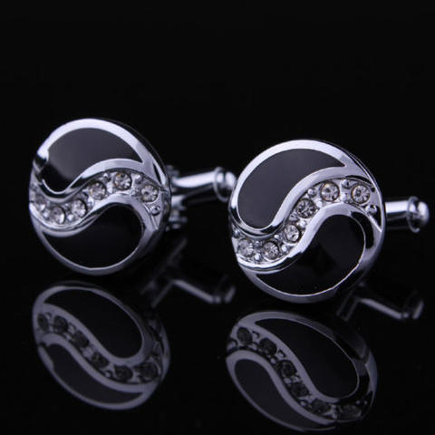 Black Drops Crystals Cufflinks