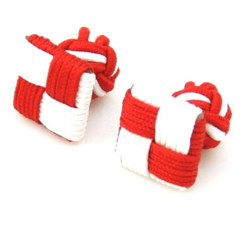 Red White Square Knot Cufflinks