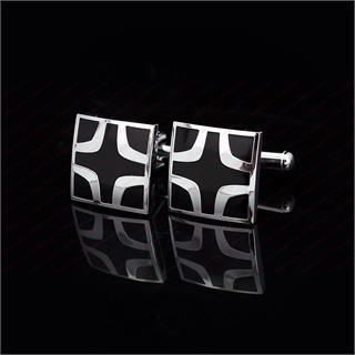 Black Cross Square Cufflinks - 1