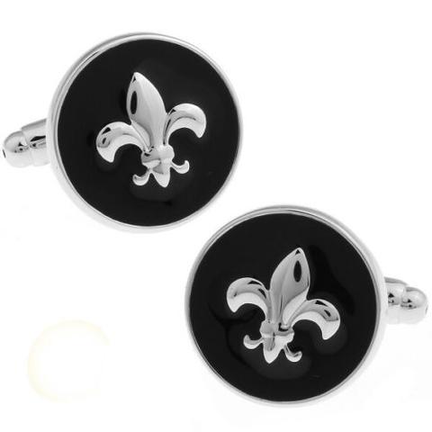 French Lily Black Round Shield Cufflinks