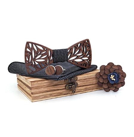 Wooden Cufflinks with Svarog Butterfly