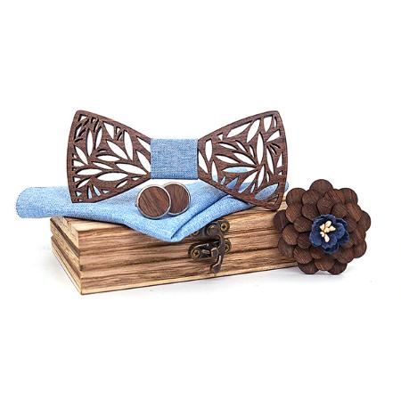 Wooden Cufflinks with Flower Pereplut