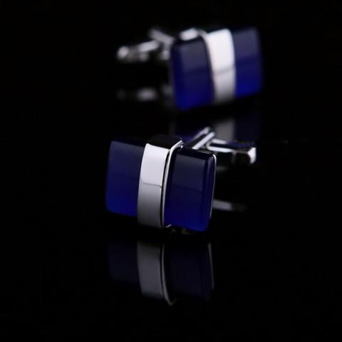 Deep Blue Crystal Cufflinks - 1