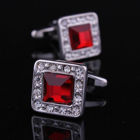 Ruby Crystal Circular Cufflinks - 1