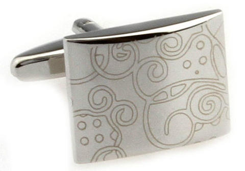 Stylish Ornament Rectangle Cufflinks - 1