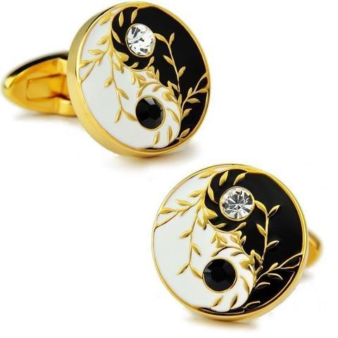 Yin Yang Design Swarovski Cufflinks