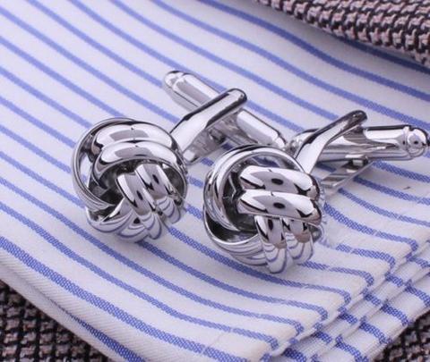Little Silver Metal Knot Cufflinks
