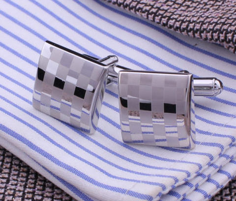 Matted and Shiny Checkerboard Cufflinks - 1