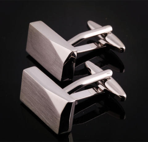 Silver Metal Block Cufflinks - 1
