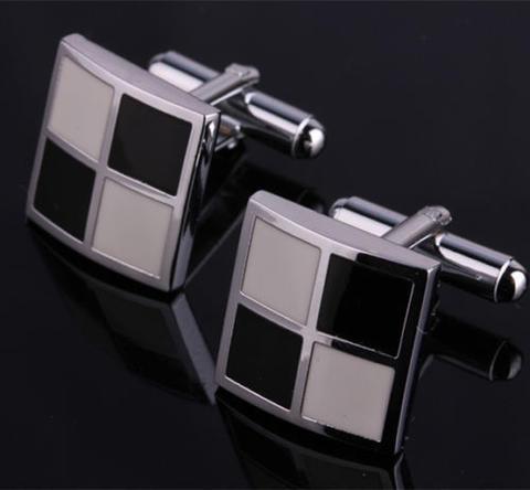 Black and White Patchwork Cufflinks - 1
