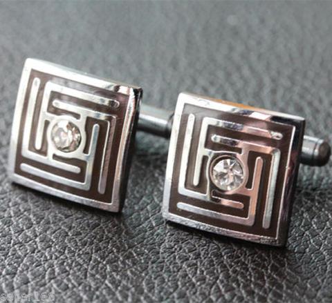 Crystal Greek Labyrinth Cufflinks - 1