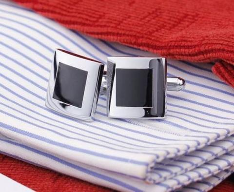 Stylish Black Fine Square Cufflinks