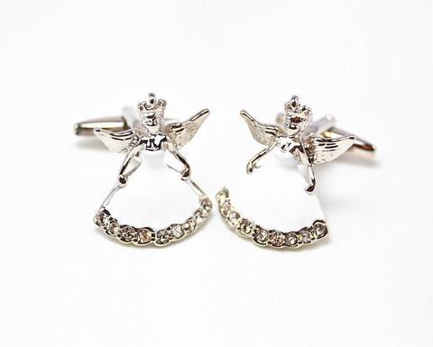 Silver Metal Angel Cufflinks
