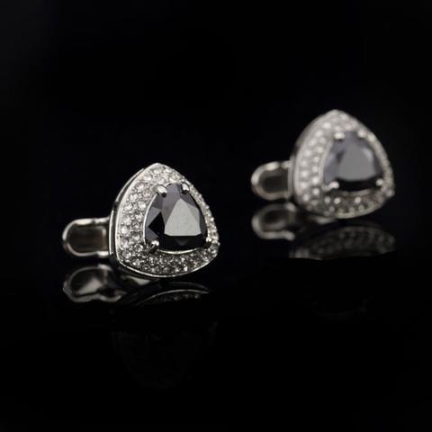 White Triangle Crystal Cufflinks