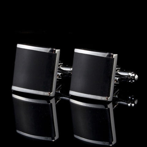 Black Square Metal Edge Cufflinks