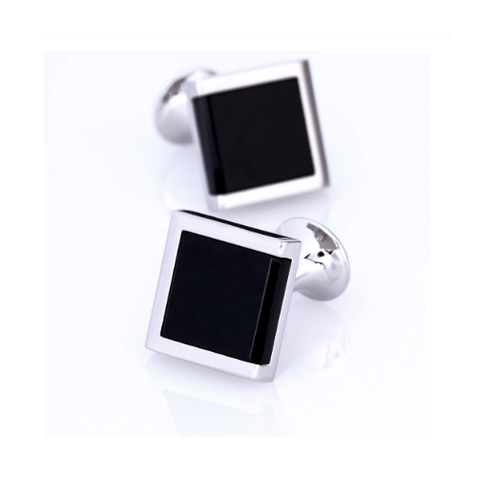 Stylish Black Square Cufflinks - 1