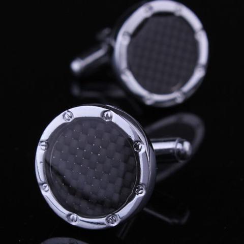 Black Checkered Pattern Round Cufflinks - 1