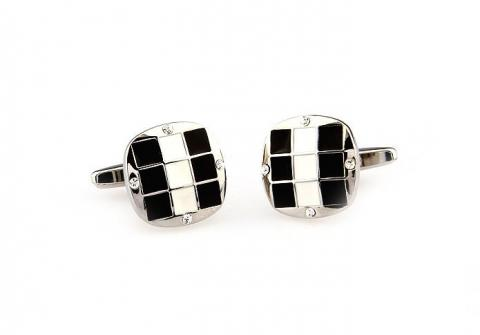 Black and White Grid Cufflinks