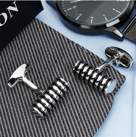 Black Siilver Metal Stripes Cufflinks