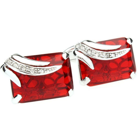 Faceted Ruby Crystal Cufflinks - 1