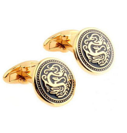 Vintage Chinese Dragon Round Cufflinks - 1