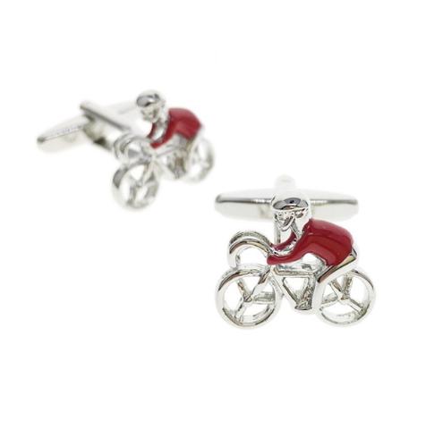 Cufflinks Red Cyclist - 1