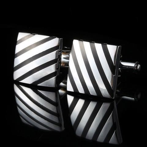 Diagonal Strips Square Cufflinks - 1