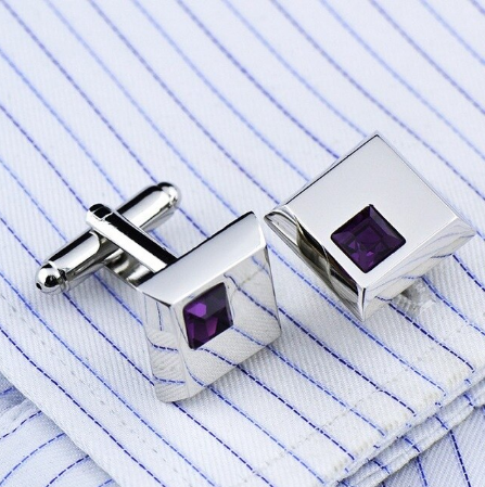 Stylish Purple Crystal Cufflinks - 1