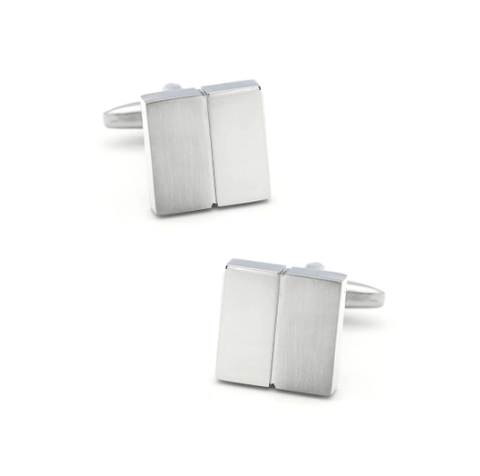 Silver cufflinks with stripe - 1