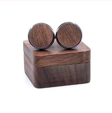 Wooden circle cufflinks