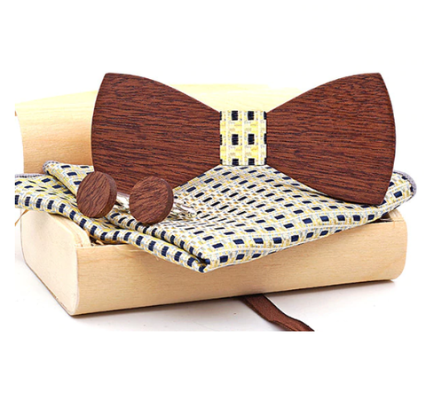 Wooden Cufflinks with Butterfly Choros