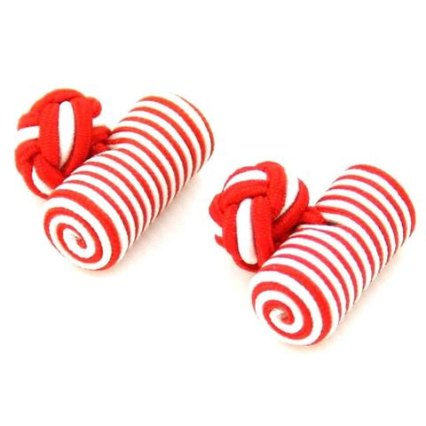 Red White Barrel Knot Cufflinks
